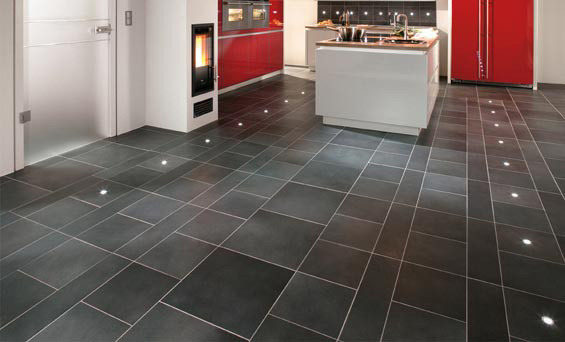 kitchen floor tiles with built-in lights